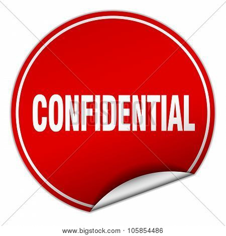 Confidential Round Red Sticker Isolated On White