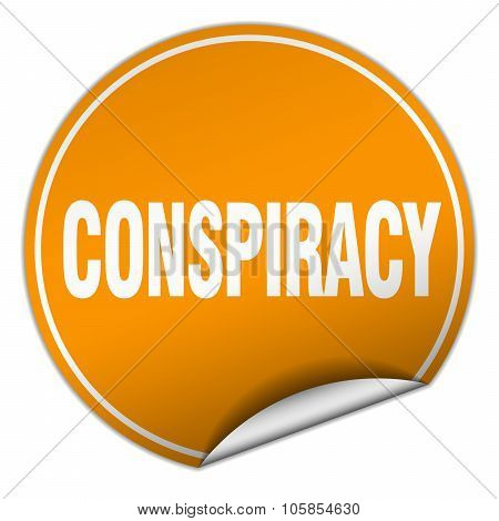 Conspiracy Round Orange Sticker Isolated On White