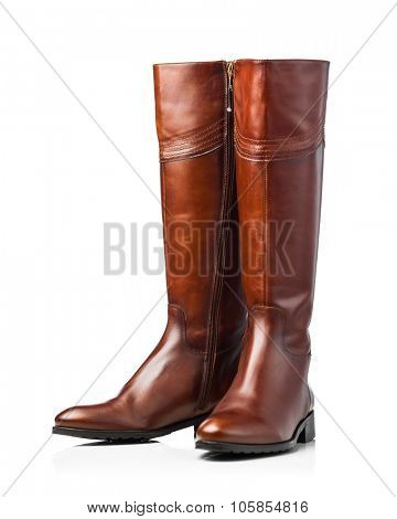 brown leather high boots, isolated on white