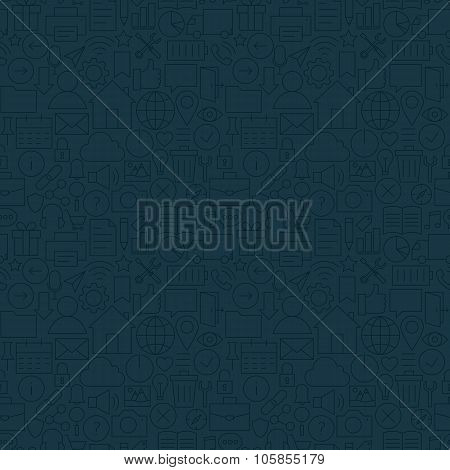 Thin Line Web And Mobile User Interface Dark Seamless Pattern