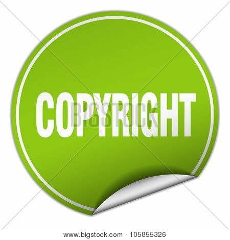 Copyright Round Green Sticker Isolated On White