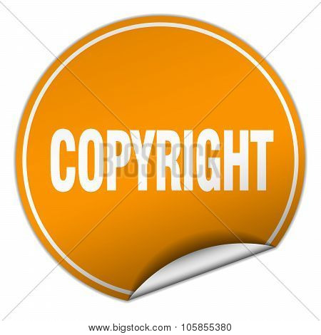Copyright Round Orange Sticker Isolated On White