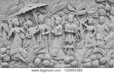 Bas-relief On Cement Plaster In Thai Style, Thailand