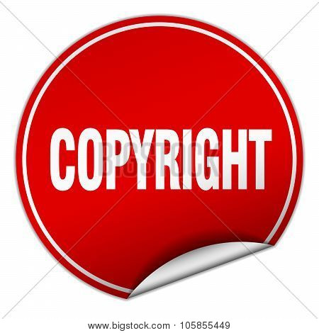 Copyright Round Red Sticker Isolated On White