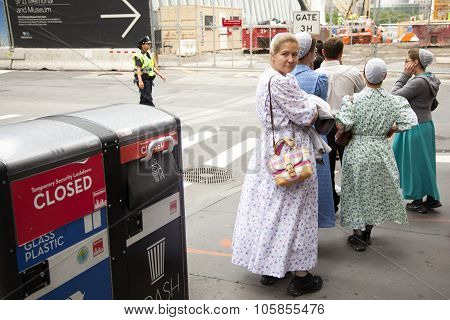 Mennonite Girls On Pavement In New York City Near Ground Zero