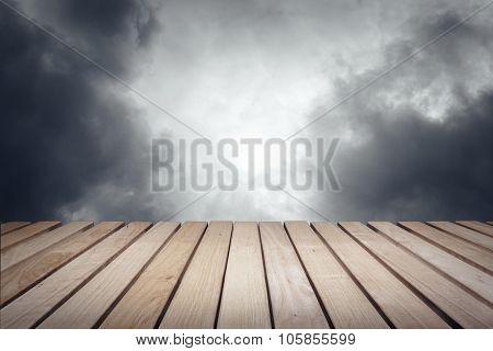 Wood platform and sky.