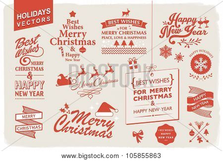 VECTOR COLLECTION FOR THE HOLIDAYS. Christmas and new year wishes. Typographic and graphic design elements.