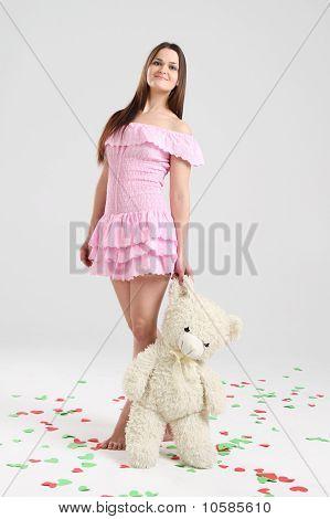 Brunnete Girl With Teddy Bear