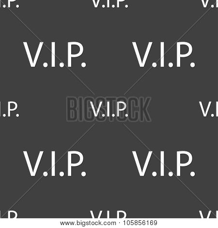 Vip Sign Icon. Membership Symbol. Very Important Person. Seamless Pattern On A Gray Background.