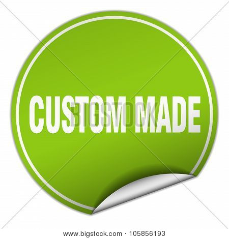 Custom Made Round Green Sticker Isolated On White