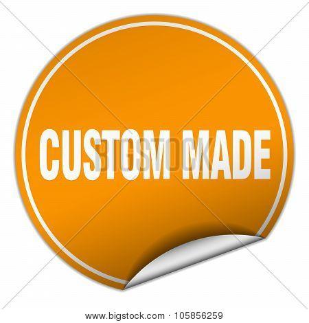 Custom Made Round Orange Sticker Isolated On White