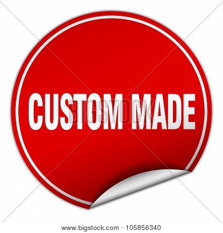 Custom Made Round Red Sticker Isolated On White