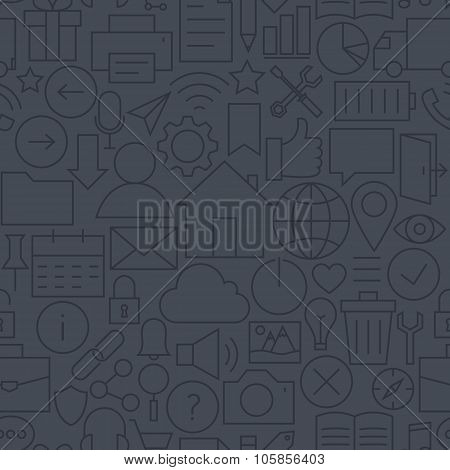 Thin Line Website Mobile User Interface Dark Seamless Pattern