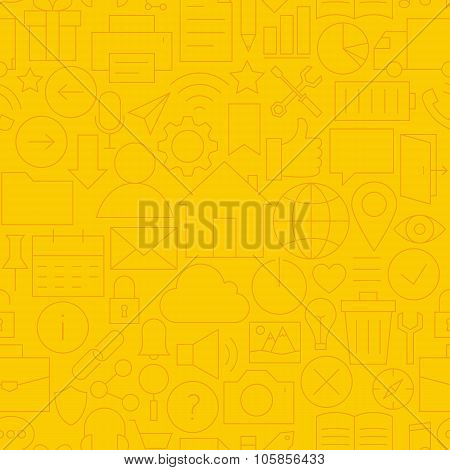 Thin Line Website Mobile User Interface Seamless Yellow Pattern