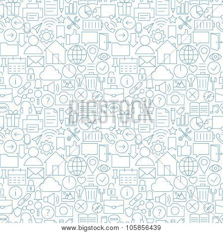 Thin Line Website Mobile User Interface White Seamless Pattern