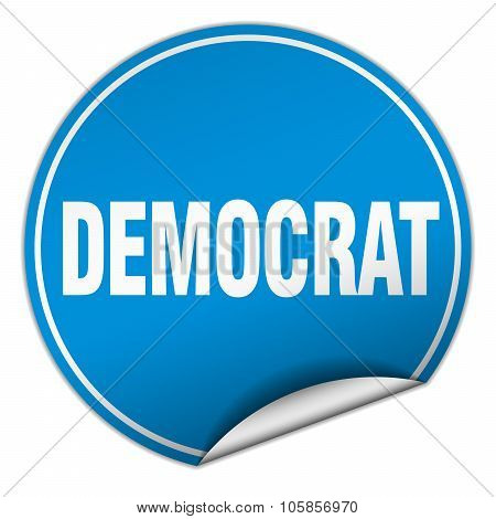 Democrat Round Blue Sticker Isolated On White