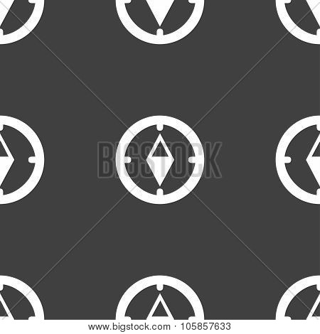 Compass Sign Icon. Windrose Navigation Symbol. Seamless Pattern On A Gray Background.