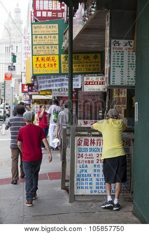 People And Signs On The Street In Chinatown Manhattan New York City