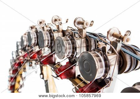 Detail Of Industrial Knitting Machine Producing Cotton Yarn In Motion