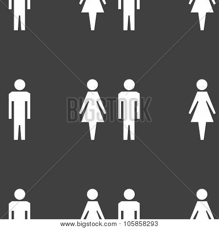 Wc Sign Icon. Toilet Symbol. Male And Female Toilet. Seamless Pattern On A Gray Background.