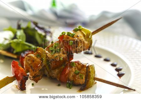 Shish Kebab On A Wooden Stick ?hicken, Pepper And Tomatoes