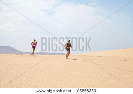 Corralejo - November 03: Participants Running In The Dunes At Fourth International Fuerteventura Hal