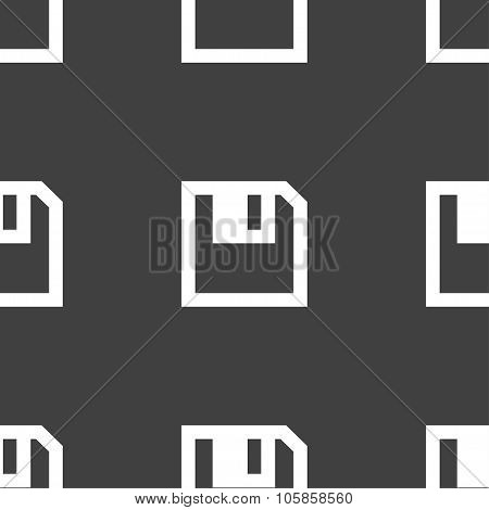 Floppy Icon. Flat Modern Design. Seamless Pattern On A Gray Background.