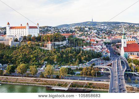 Bratislava Skiline With Castle, Danube Waterfront