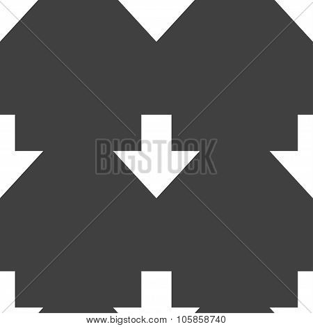 Download Sign. Downloading Flat Icon. Load Label. Seamless Pattern On A Gray Background.