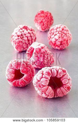 Delicious Frozen Raspberries On Steel
