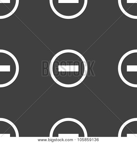 Minus Sign Icon. Negative Symbol. Zoom Out. Seamless Pattern On A Gray Background.