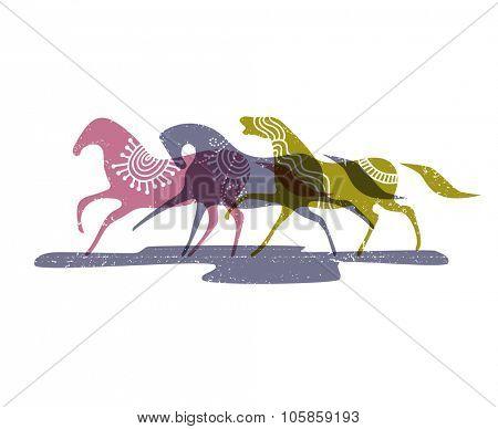 Wild horses, eps10 vector illustration
