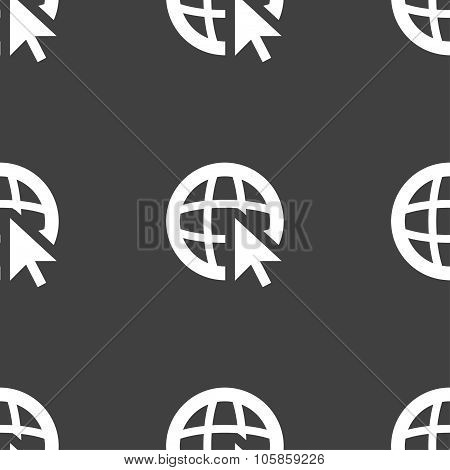 Internet Sign Icon. World Wide Web Symbol. Cursor Pointer. Seamless Pattern On A Gray Background.