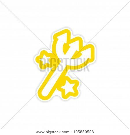 Sticker magic trident with stars on a white background