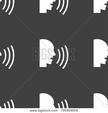 Talking Flat Modern Web Icon. Seamless Pattern On A Gray Background.
