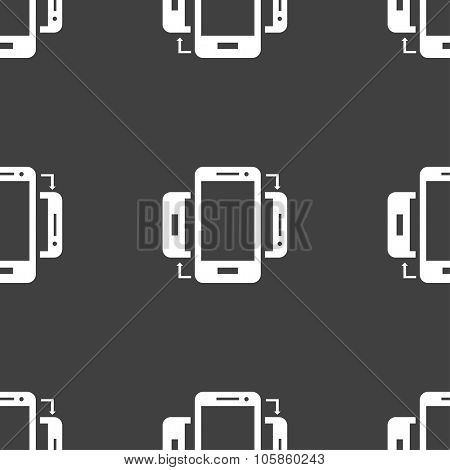 Synchronization Sign Icon. Smartphones Sync Symbol. Data Exchange. Seamless Pattern On A Gray