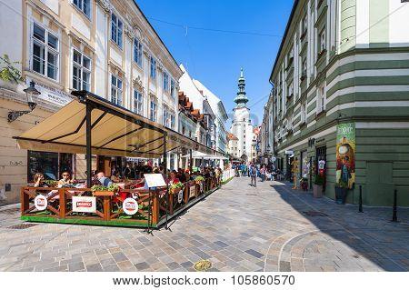 Tourists In Outdoor Restaurants In Bratislava
