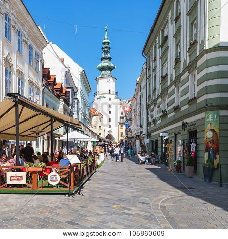 People In Outdoor Restaurants In Bratislava