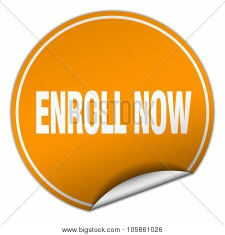 Enroll Now Round Orange Sticker Isolated On White