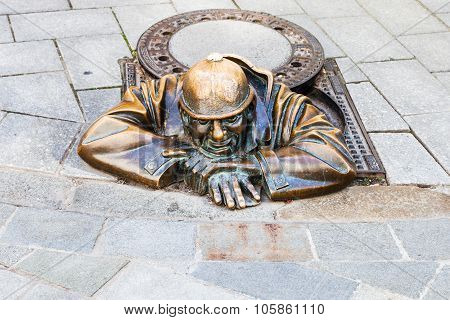 Bronze Statue Of Cumil The Peeper In Bratislav