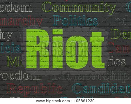 Politics concept: Riot on wall background