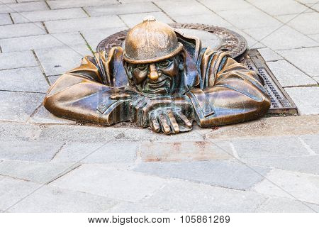 Bronze Figure Of Cumil The Peeper In Bratislava