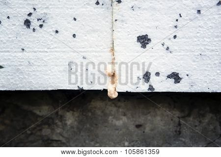 Polyurethane Insulation Foam Between Polystyrene Foam.