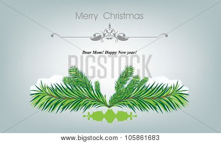 Beautiful Merry Christmas card with fir tree and snowflakes