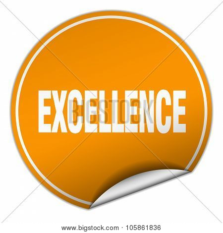 Excellence Round Orange Sticker Isolated On White