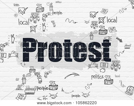 Politics concept: Protest on wall background