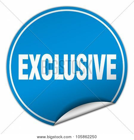 Exclusive Round Blue Sticker Isolated On White