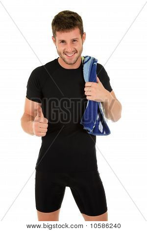 Young Sporty Man With Thumb Up