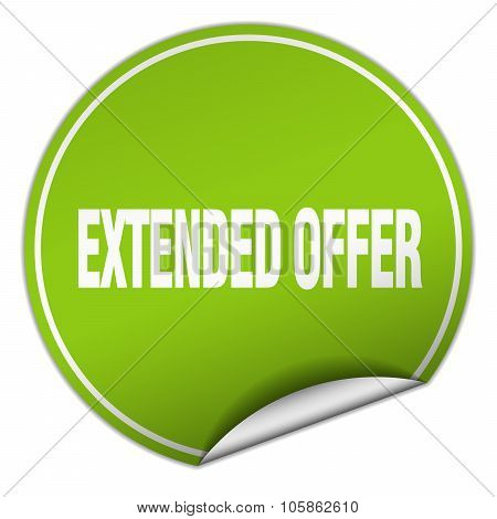 Extended Offer Round Green Sticker Isolated On White