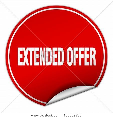 Extended Offer Round Red Sticker Isolated On White